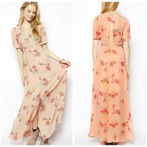 ASOS pink floral maxi dress size:8